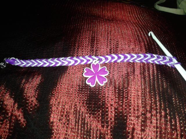 Purple and white charm bracelet