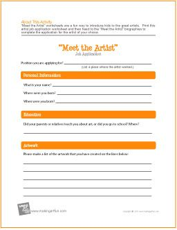 """Meet the Artist"" Job Application 