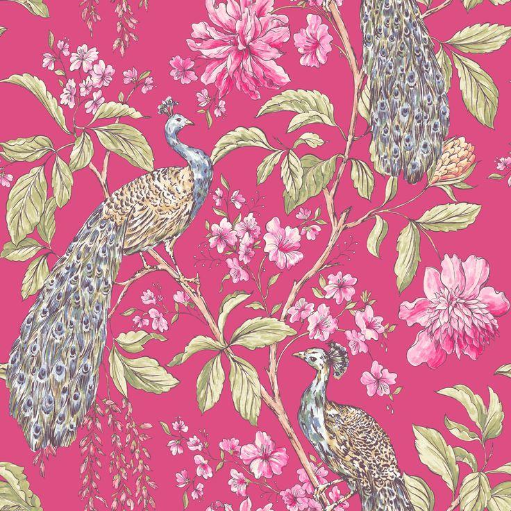 Hibiscus Raspberry Peacock Floral Wallpaper | Departments | DIY at B&Q