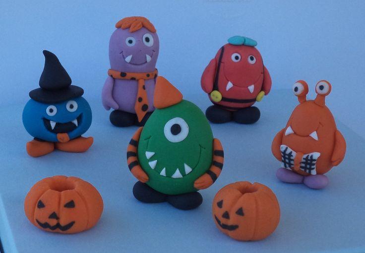 Halloween Little Monsters Fondant Cake & Cupcake Toppers, Monsters birthday cake toppers by allsugarheart on Etsy