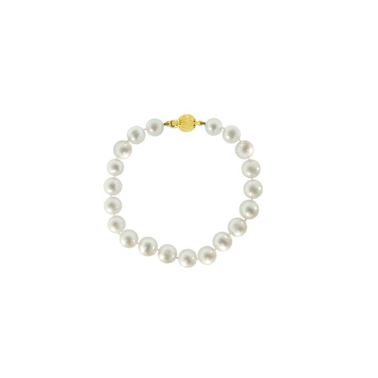 Βραχιόλι Κ14 Χρυσό με λευκά Μαργαριτάρια - M220117