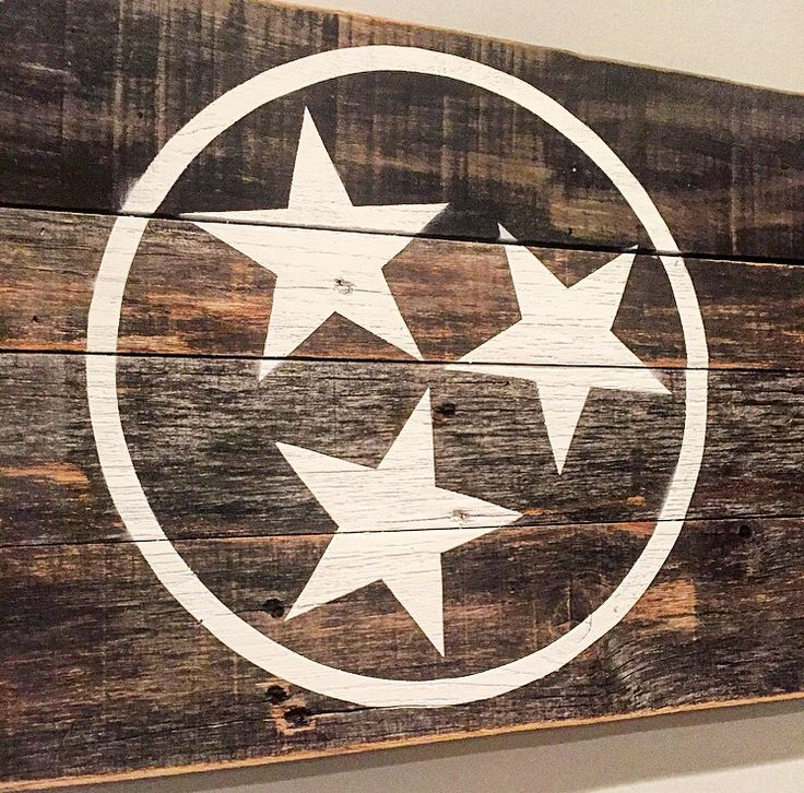 "Reclaimed Tennessee State Flag sign - White. Hand crafted out of local barn & Pallet wood. Large (48"" x 12"") $98 