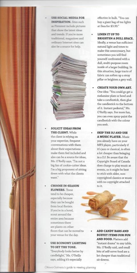 Amanda O'Reilly gives advice on entertaining on a budget. OBJ Meetings in the Capital Magazine #eventsinstyle #entertaining www.facebook.com/eventsinstyle