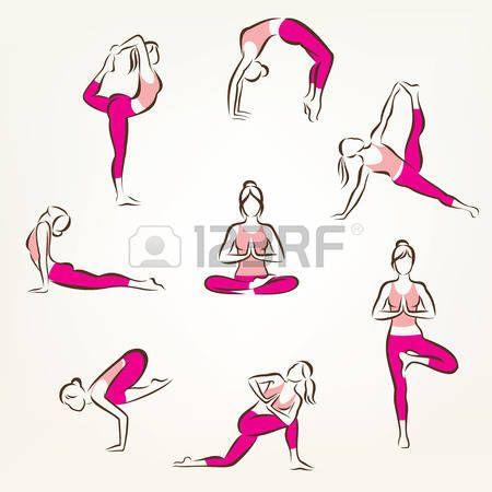 grande conjunto de yoga e pilates coloca s mbolos s mbolos do vetor estilizados cuidados de sa de e  Banco de Imagens