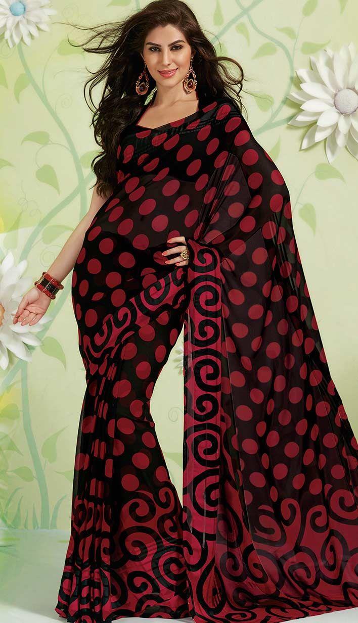 Get Latest Indian Designer Black Georgette #PrintedSaree Online.  #Price INR- 1727 Link- http://alturl.com/hzj6h