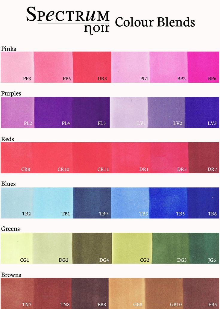 Spectrum Noir 6 pen set 2nd Generation color chart