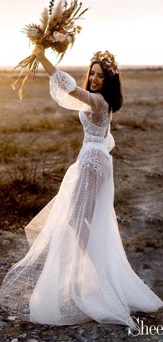 6010fa1a89 Long sleeve polka dot boho wedding dresses. Lace rustic wedding dress.   bohowedding  bohoweddingdresses  weddingdresses  weddingdress  weddings ...