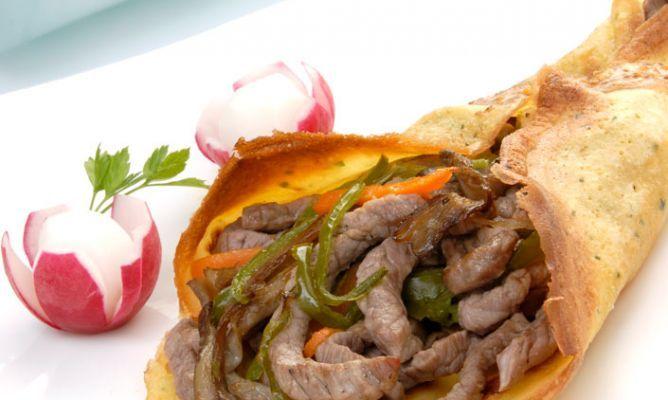 Receta de Crepes de ternera con salsa de mostaza