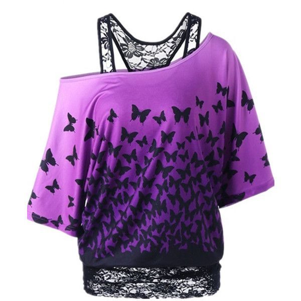 Open Shoulder Gradient Butterfly Printed Batwing Short Sleeve T-Shirt ($36) ❤ liked on Polyvore featuring tops, t-shirts, purple top, purple tee, purple t shirt, cut out shoulder top and cold shoulder tops