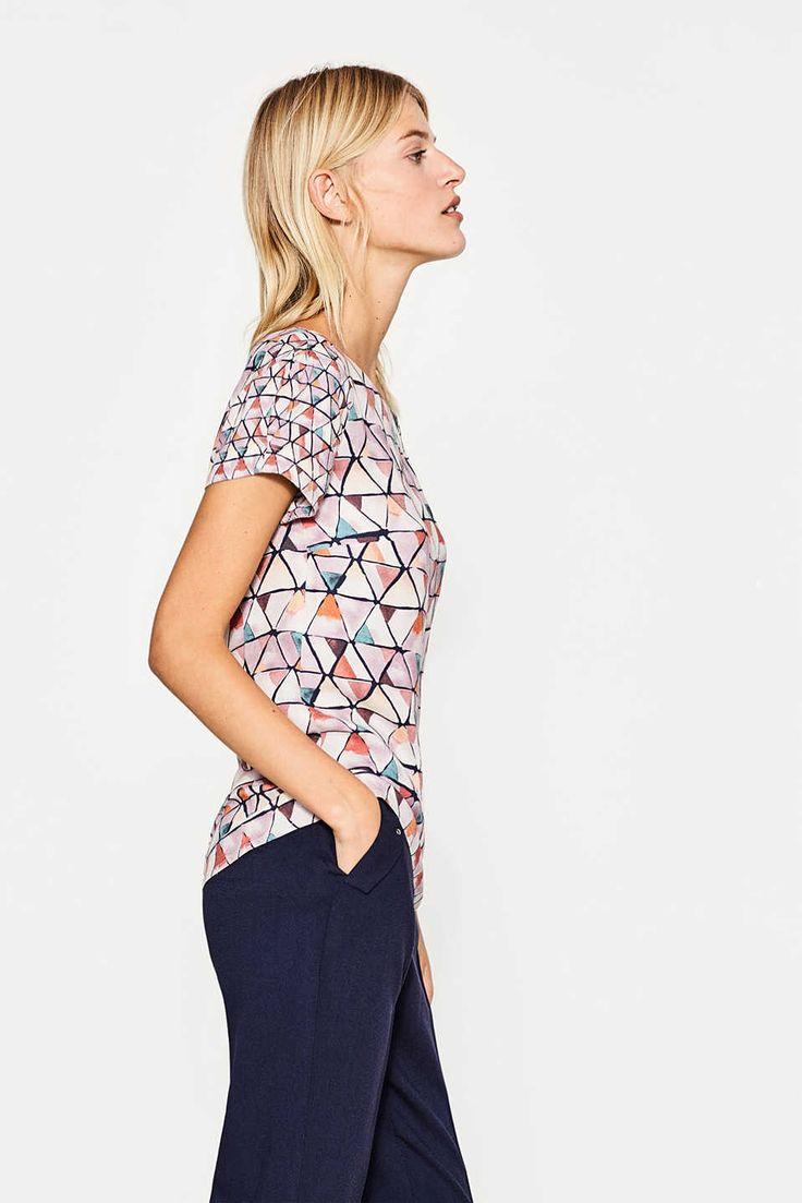 Esprit - Fließende Shirt-Bluse mit Mosaik-Print