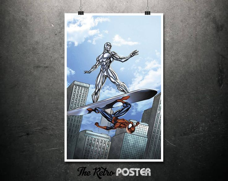 Silver Surfer & Spiderman - Spider-Man Comics, Comic Book Art, Marvel Poster, Kids Prints, Boys Room Decor, Boys Bedroom, Boys Prints by TheRetroPoster on Etsy
