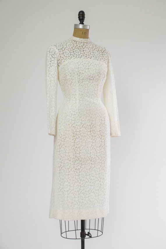 1950s wiggle dress 50s white fitted lace wedding by MoonRevival