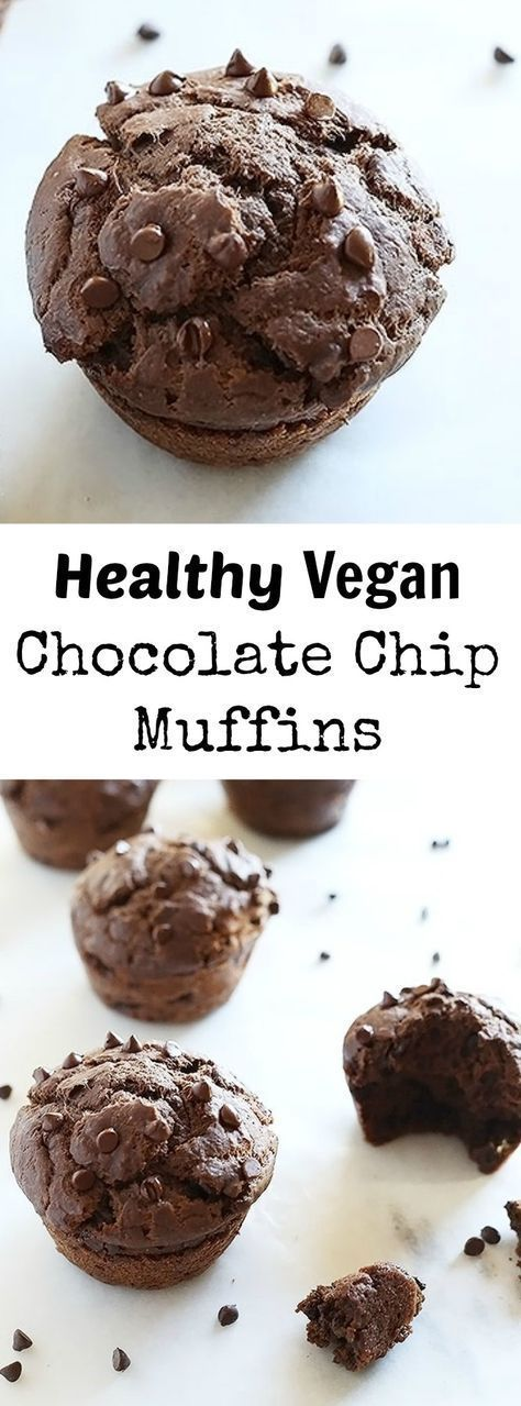 These Healthy Vegan Chocolate Chip Muffins are sweetened with maple syrup and chocolate chips, super easy to make and great for breakfast, dessert or just snacking! Vegan.