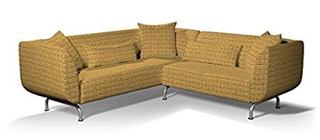 Dekoria Fire Retarding Ikea Stromstad 3+2 seater corner sofa cover - honey with orange thread