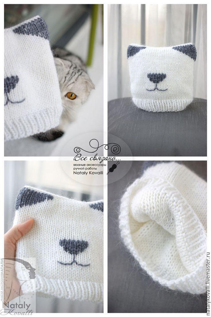 Купить Детская шапка Кошечка - белый, рисунок, кошка, шапка, детская шапочка, детская шапка