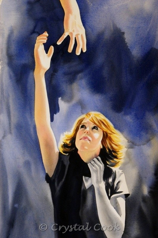 Original Fine Art Figurative Watercolor Painting Woman Dramatic Gesture Blue Black Gold. $1,750.00, via Etsy.: Crystals, Watercolor Painting, Art Watercolor, Painting Watercolor❸, Cook Artwork, Cook Watercolor, Creative Artwork
