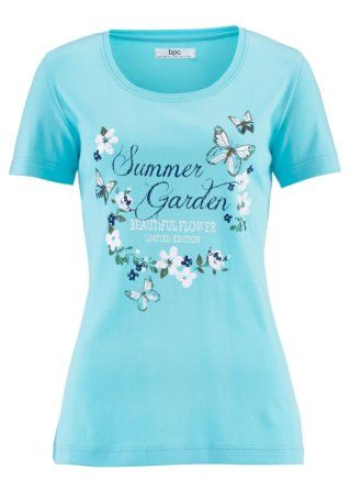 Kurzarm-Shirt, bpc bonprix collection, aqua bedruckt