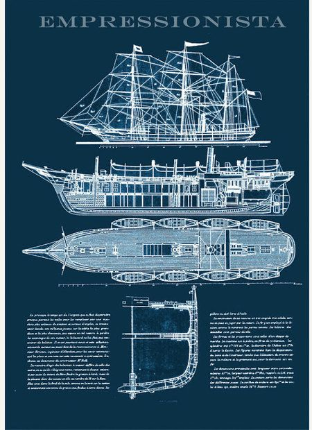 Ship Blueprint Nautical Technical Drawing of a Steam Ship from 1887 A3 size