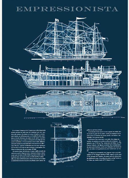 Dibujo técnico náutico anteproyecto de un buque de vapor de la nave desde 1887 A3 tamaño