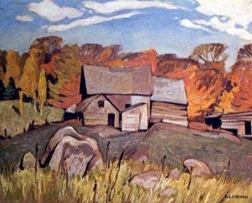 CASSON, A.J. - Canadian artist (1898-1992): -- 'Farm Near Baptiste'.