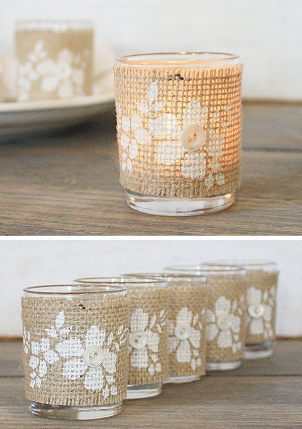 Maybe a cute favor idea.  Wrap votive holders with stencil painted burlap.: Stencil Paintings, Wedding Ideas, Candles Holders, Burlap Candles, Votive Holders, Favors Ideas, Wraps Votive, Paintings Burlap, Rustic Wedding