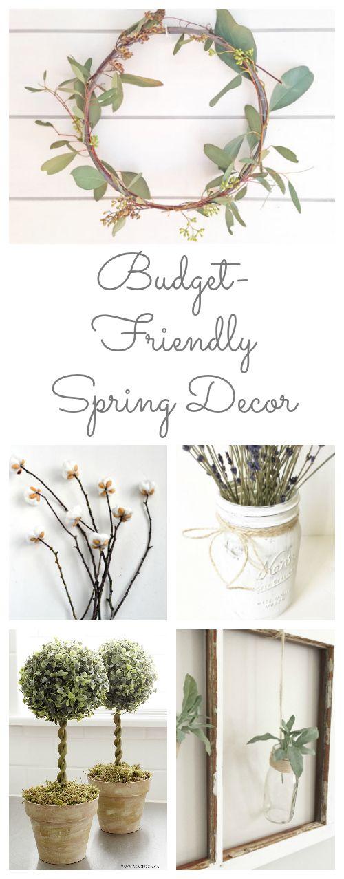 So many amazing ideas for budget friendly spring decor! #spring #springdecor