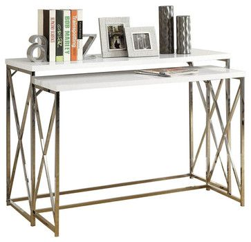 Monarch Specialties 2-Piece 46 x 18 Console Nesting Table Set in Chrome, White - contemporary - Side Tables And Accent Tables - eFurniture Mart
