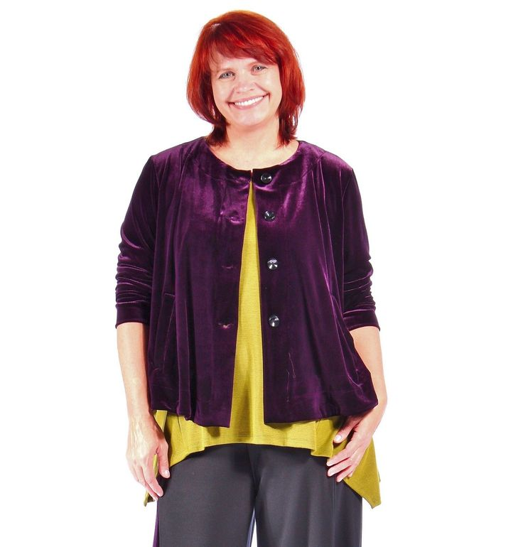Alembika  J113   Swing Angelina Jacket Top  1 2 3 4 5 6  Purple Imperial Velvet
