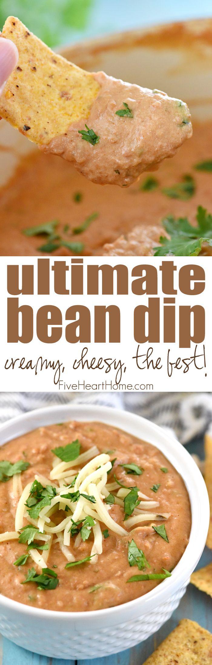 Ultimate Bean Dip ~ requiring a handful of simple ingredients -- refried beans…