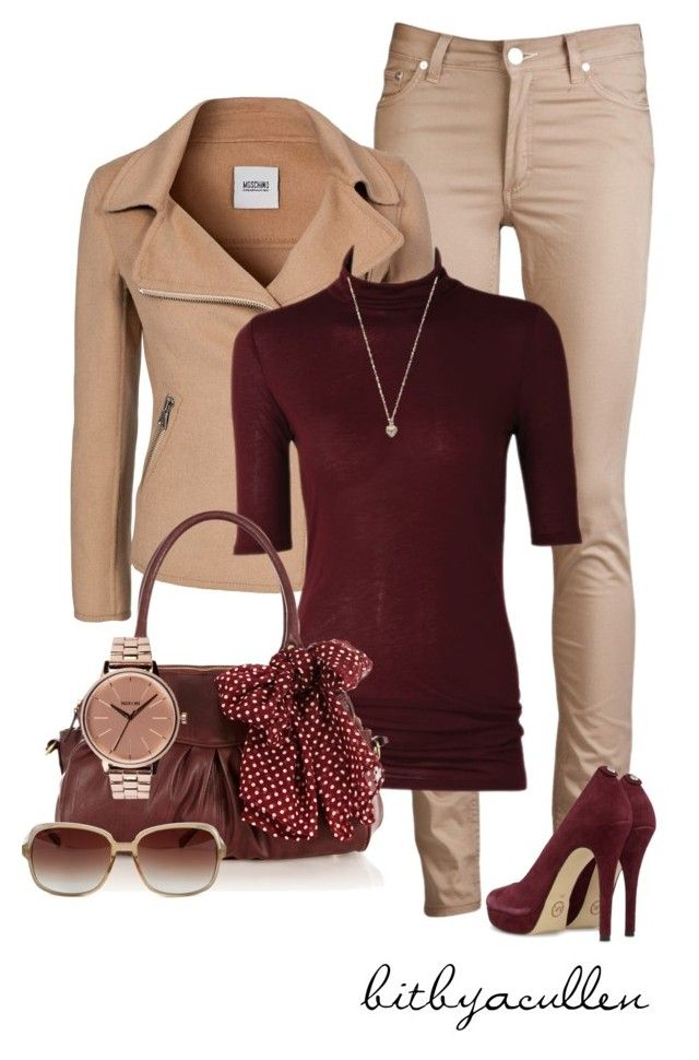 """Beige 'n Burgandy"" by bitbyacullen ❤ liked on Polyvore featuring Acne Studios, Moschino Cheap & Chic, Oasis, Nixon, MICHAEL Michael Kors and Zadig & Voltaire"