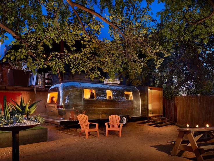 love love love what they did with this old busted (renovated of course) Airstream trailer...more awesome interior pics at link!