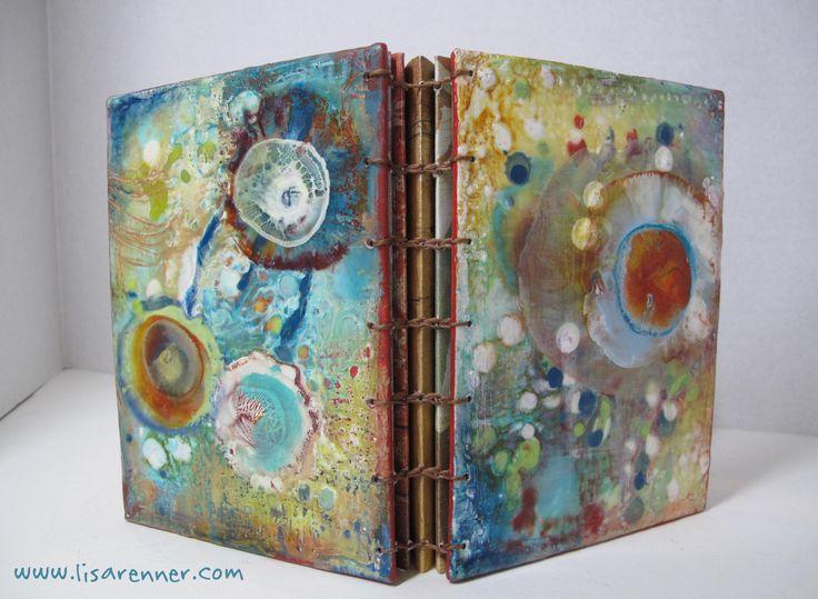 Encaustic Wax handmade book. The technique is one I learned from Elizabeth Schowachert-a fabulous encaustic artist!