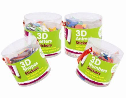 Skumklistermärken 3D - former, bokstäver, siffror och djur