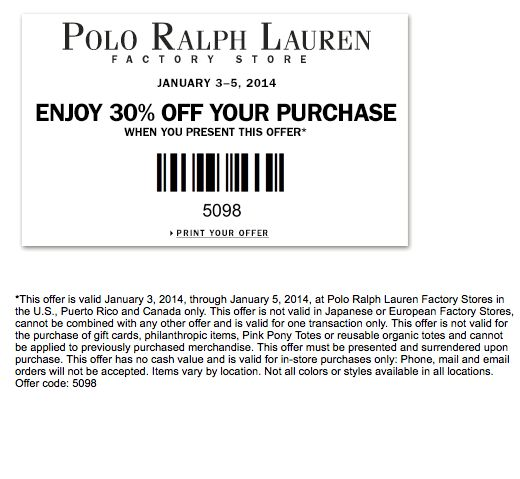 polo ralph lauren factory stores coupon 2010. Black Bedroom Furniture Sets. Home Design Ideas