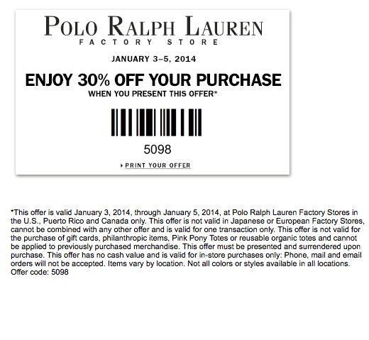 Polo ralph lauren discount coupon