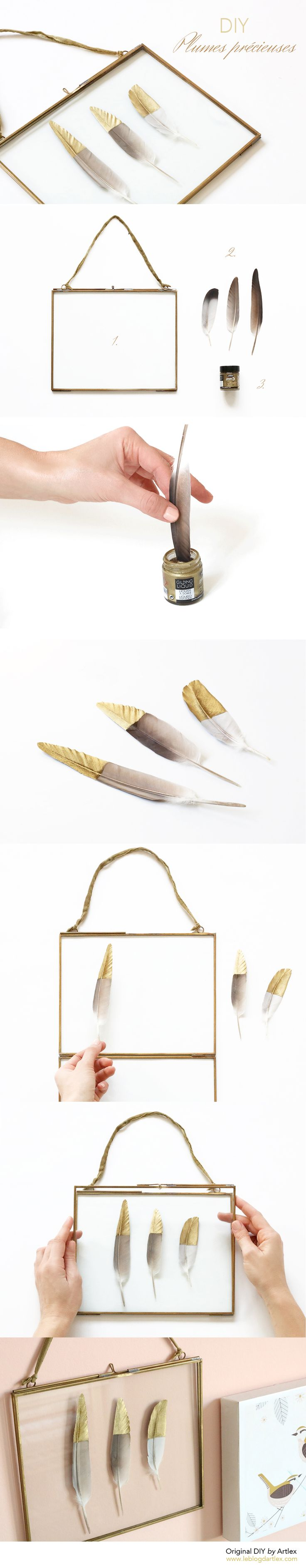 DIY plumes or // gold Feathers DIY // DIY cadre deco // DIY cadre original - Blog DIY Mode Artlex