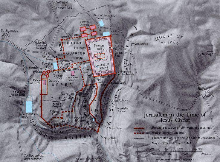 Mapa de Jerusalem en el Tiempo de Jesucristo  Map of Jerusalem in