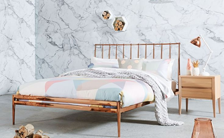 Copper Finish Queen Bed Frame