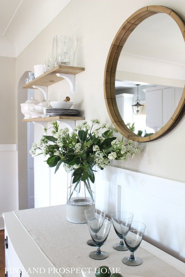Farmhouse Tour Friday Vol 14 Gorgeous Wooden Round Mirror And Fresh Flower Bouquet In The Din Dining Room Shelves Dining Room Inspiration Dining Room Decor