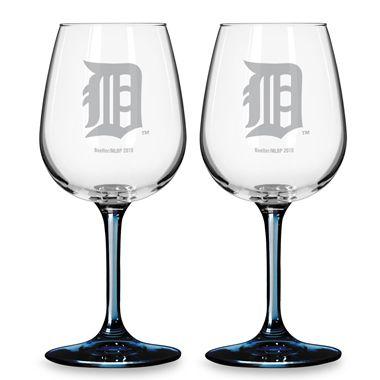 Satin Etched Detroit Tigers  MLB Wine Glasses (Set of 2)