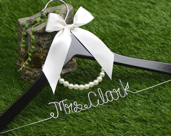 Wedding Hanger lace bow wire name Hanger by haomaihanger on Etsy
