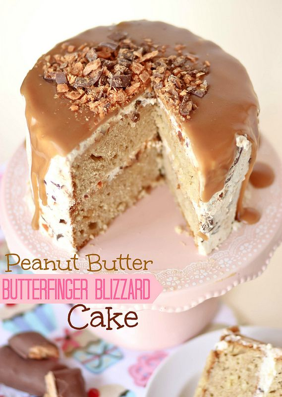 Peanut Butter Butterfinger Blizzard Cake -- Confessions of a Cookbook Queen