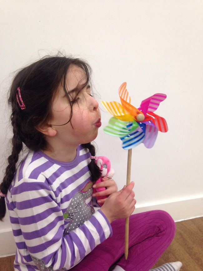 Pinwheels are an old-fashioned toy you can use to teach children to control their breathing.