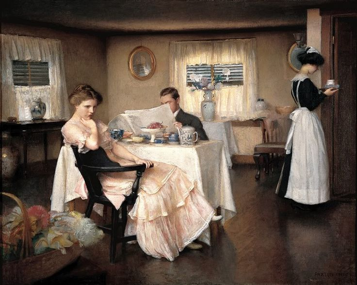 Readers reading #7 The Breakfast (c.1911) – By William McGregor Paxton. Private collection. I am very tempted to add thought bubbles for each of the subjects in this painting. If you have any…