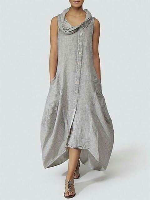 48a4623d36 Buy Summer Dresses For Women at JustFashionNow. Online Shopping  JustFashionNow Cowl Neck Gray Women Summer Dress Cocoon Dress Sleeveless  Basic Linen Paneled ...