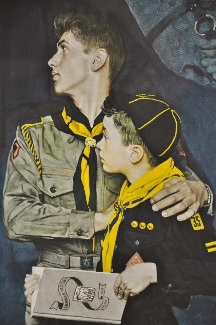 norman rockwell bsa prints | ... Norman Rockwell Boy Scouts of America Print RARE AP Collotype BSA