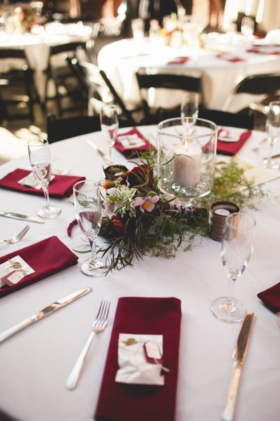 Ruby Red Wedding - Deep Red Wedding reception table
