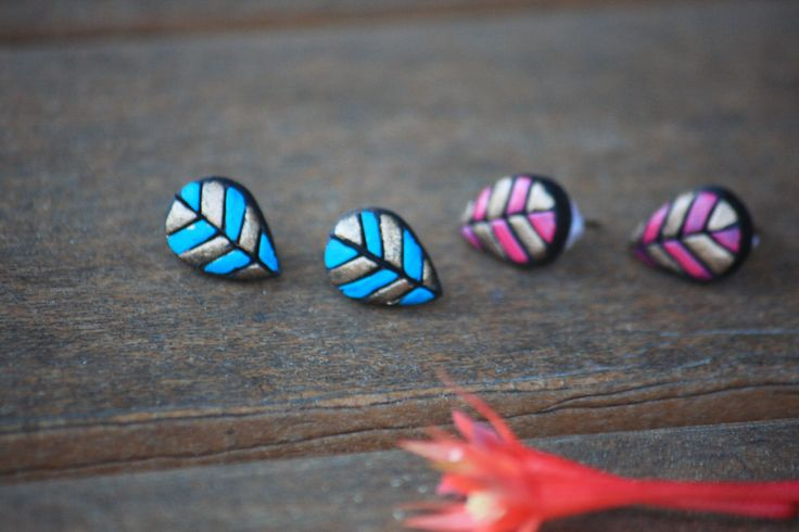cute mini terracotta studs, polymer clay studs, blue stud, pink and gold stud, petal shaped studs, kids studs, stud earrings by Mithicotta on Etsy