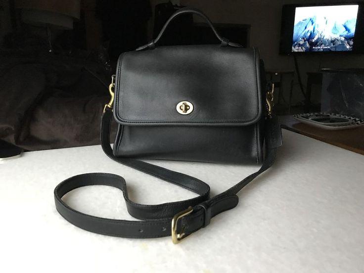 Vintage COACH COURT 9870 Crossbody Bag Black Leather Purse  #Coach #MessengerCrossBody