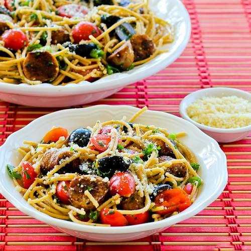 Whole Wheat Spaghetti Salad Recipe with Italian Sausage, Tomatoes, Olives, and Basil Vinaigrette; this is one of my favorite pasta salads for summer!   [from Kalyn's Kitchen]